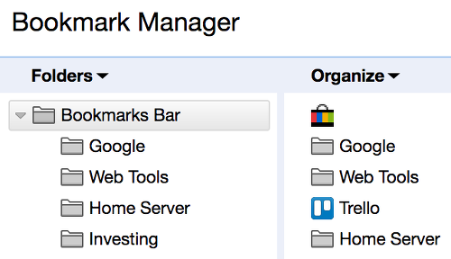 Bookmark manager in Chrome