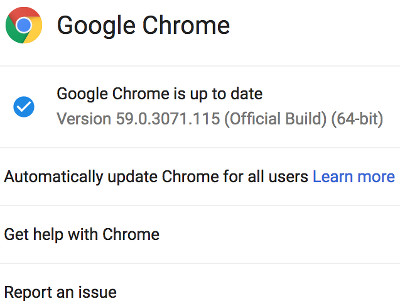 What version of chrome in about window.