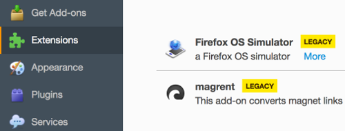 Manage add-ons in Firefox