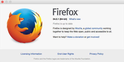 What version of firefox in about window.