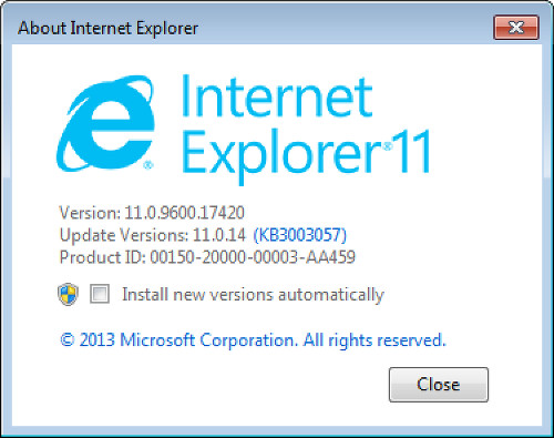 What version of internet explorer in about window.