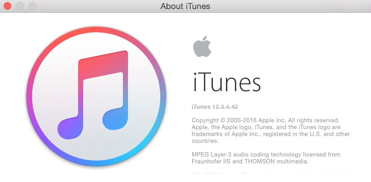 What version of iTunes in about window.