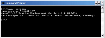 What version of java in command prompt window.