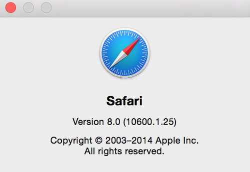 What version of safari in about window.